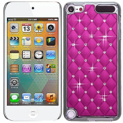 Hot Pink Chrome Silver Bling Rhinestone Diamond Crystal Case Cover For Apple iPod iTouch 5