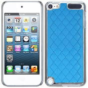 Blue Silver Quilted Leather Silver Chrome Case Cover For Apple iPod Touch iTouch 5