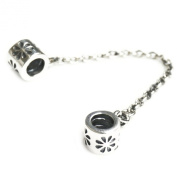 Queenberry Antique Sterling Silver Daisy Blossom Flower Safety Chain Screwed-on Bead for Pandora Troll Chamilia Biagi European Charm Bracelets