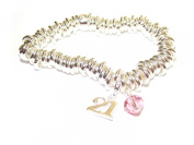 21st Birthday Silver Bracelet with. Elements and Sterling Silver Stamped 21 Charm