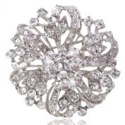 Ever Faith Austrian Crystal Vintage Inspired Flower Wedding Brooch Clear Silver-Tone A02444-2