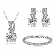 Classic Elegance jewellery set with. Crystals 18ct white gold plated High quality gift SFJS24