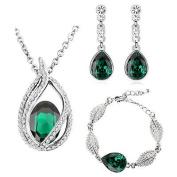 Emerald Green Christmas Jewellery Set Drop Earrings, Bracelet & Necklace S700