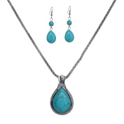 Yazilind Vintage Tibetan Silver Pretty Teardrop Turquoise Pendant Necklace Earrings Jewellery Set