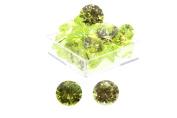 Birth Stone Jewels 8mm Peridot Round Brilliant Cut Cubic Zirconia Gem Stones Pack Of 2