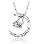 FY-D006 Lily Jewellery Twilight. Silver Crescent Half Moon with. Elements Austrian Crystal Pendant Necklace for Women