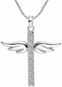 Sterling Silver Cubic Zirconia Angel Wing Cross Pendant Necklace With Box Chain 45 cm - s1p011N1