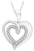 "Carissima 9ct White Gold 0.07ct Diamond Double Heart Pendant on Chain Necklace 46cm/18"""