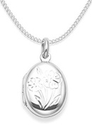 """925 Sterling Silver Childrens locket Necklace with flowers on 15"""" curb chain - opening locket - Size"""