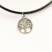 TrendsMe Real Black Leather Cord Choker Necklace with Vintage Tibetan Silver Charm Pendant [Tree]