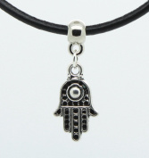 Evil eye small Hamsa Hand charm charm on Premium quality leather choker / necklace (chocker)+ Made in UK +