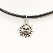 TrendsMe Real Black Leather Cord Choker Necklace with Vintage Tibetan Silver Charm Pendant[Sun]