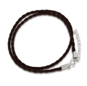Leather necklace cord, surfer, surf style, dark brown, 3mm