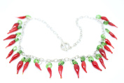 Funky Kitsch Red Hot Chilli Pepper Necklace with Glass Beads