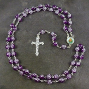 Purple rose flower plastic rosary beads 56cm length necklace long