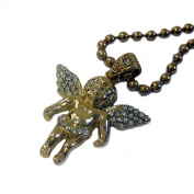 Faux Diamond Micro Gold Plated Angel / Cherub Pendant and Ball Chain