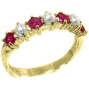 Solid 9ct Yellow Gold Natural Ruby & Pearl Ladies Eternity Band Ring - Sizes J to Z Available