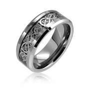 St Patricks Day Jewellery Tungsten Celtic Dragon Black Inlay Flat Comfort Fit Wedding Band