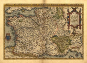 Reproduction Antique Map of Gaul, France, Southern England, Northern Spain & Italy, Switzerland, by Abraham Ortelius A1 Size 78 x 57 cm