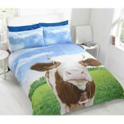 Cow Themed Farm Animals Single Quilt Duvet Cover & Pillowcase Bedding Bed Set
