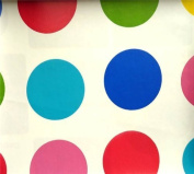 LARGE MULTI COLOURED TWISTER SPOTS PVC OILCLOTH VINYL FABRIC KITCHEN CAFE BAR TABLE WIPECLEAN PICTURE TABLECLOTH PER METRE 100CM X 135 CM BRAND NEW CUT TO ORDER