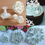 YOUS 3pcs Snowflake Fondant Cake Decorating Sugarcraft Cutter Plunger Mould Mould