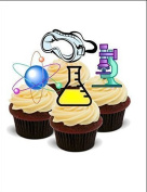 NOVELTY SCIENCE STUDENT MIX (Goggles, Microscope, Test tube) - Standups 12 Edible Standup Premium Wafer Cake Toppers