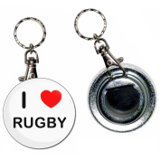 I Love Heart Rugby - 55mm Button Badge Bottle Opener Key Ring