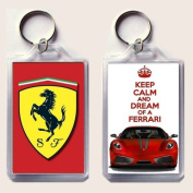 "KEEP CALM and DREAM of A FERRARI keyring printed on an image of a red Ferrari F430 on one side and the iconic Ferrari rampant horse badge on the other, from our Keep Calm and Carry On series - an original ""sorry I couldn't get you the real thing"" Fathe .."