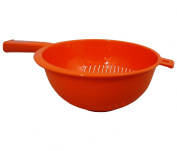 High Quality Orange Sturdy Plastic Colander Strainer w/ Handle Kitchen Cooking Utensil