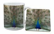 Rainbow Peacock Mug and Table Coaster, Ref:AB-PE13MC
