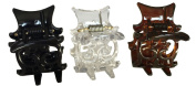 Parcelona French 3 Mini Small 2 cm Claws Black N Shell N Clear Celluloid Jaw Claw Hair Clip Clutcher