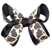 Girls Black Grey Spotted Pattern Grosgrain Bow Alligator Clippie