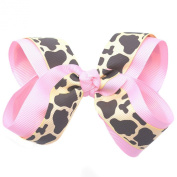 Girls Pink Spotted Pattern Grosgrain Bow Alligator Clippie