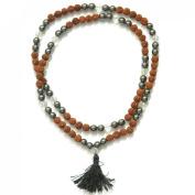 Odishabazaar Hematite Unknoted Chakra Japa Mala Buddhist 108+1 Beads Rosary Om
