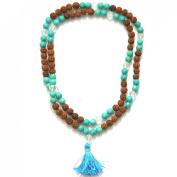 Odishabazaar Turquoise Unknoted Chakra Japa Mala Buddhist 108+1 Beads Rosary Om