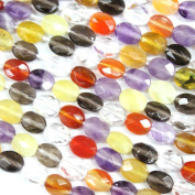 Faceted Natural Oval Genuine Yellow Opal Amethyst Smoky Quartz Crystal Red Agate Gemstone Beads Jewerly Making Findings