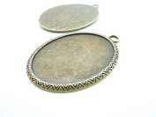 5pcs 35x50mm-30x40mm Antique Bronze Oval Cameo Bezel Tray Base Setting Charm Pendant C7922