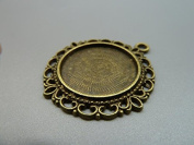 10pcs 40x43mm-25mm Antique Bronze Round Cameo Cabochon Base Setting Charm Pendant D284