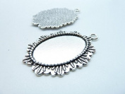 10pcs 30x45mm-20x30mm Antique Silver Oval Cameo Bezel Tray Base Setting Charm Pendant C7924