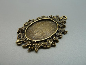 6pcs 33x49mm-18x25m Antique Bronze Oval Flower Cameo Cabochon Base Setting Pendants Charm Pendant D196