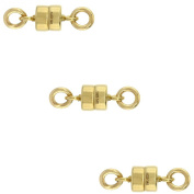 3 PACK, 14k Gold-filled 4 mm Magnetic Clasp for Light Necklaces USA, Square Edge