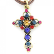 Vintage Feel Gold Tone Crystal Cross Pendant Necklace