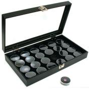 24 Black Gem Jars & Glass Top Display Tray