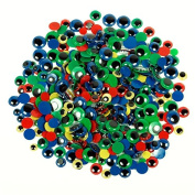 500 Coloured Wiggle Eyes with Black Pupil, Assorted Sizes and Colours