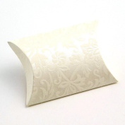 10 Small Ivory Embossed Flock Gift Boxes / Wedding Boxes / Favour Boxes - 70mm x 70mm x 25mm