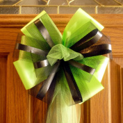 Large Pre-made Lime and Black Wedding Pew Bows - 25cm Wide, Set of 6
