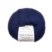 Navy - Woolyknit 4ply Classics| 100% Merino Fingering Weight Hand Knitting Wool Yarn, Machine Washable, 50g Balls