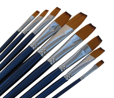 ARTIST PAINT BRUSHES - F - Professional Quality Black Tip, Golden Nylon, Long Handle, Flat Paint Brush Set - Ideal for Watercolour Painting and Gouache Colour Painting, and Equally Useful for Acrylic Painting and Oil Painting. - The Natural Characteris ..