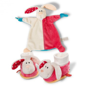 Neat-Oh Baby's First Plush Rabbit Security Blanket and Baby Booties with Rattle Set